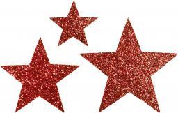 Applikation Sort. 3x2 Sterne rot glitter