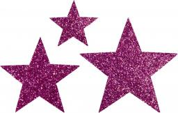 Applikation Sort. 3x2 Sterne fuchsia glitter