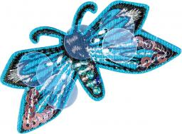 Application butterfly blue with pearls and sequins