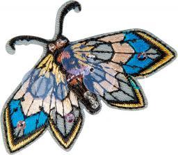 Applikation Schmetterling grau mit Perlen und Pailletten