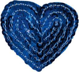 Applikation Herz blau mit Pailletten