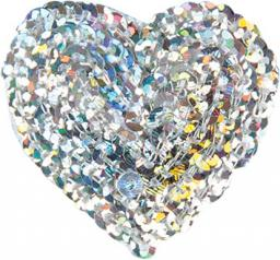 Applikation Herz silber mit Pailletten