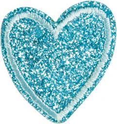 Applikation Herz Glitzer blau
