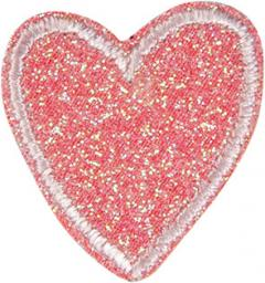 Applikation Herz Glitzer rosa