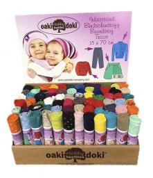 Oaki doki Bündchenstoff assorted Display 15x70cm 72St.