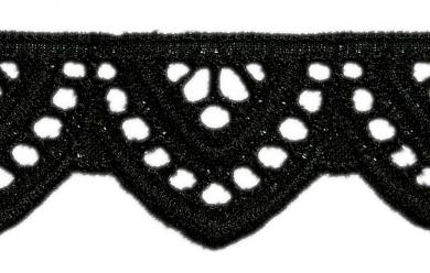 Scalloped Lace 24Mm Black 100%Co