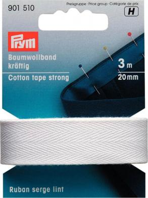 Wholesale Cotton tape strong 20mm white         3m