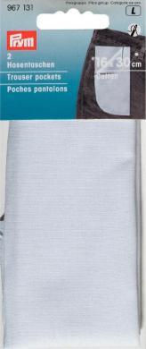 Großhandel Hosentaschen ganz (zum Einnähen) CO 16 x 30 cm weiß
