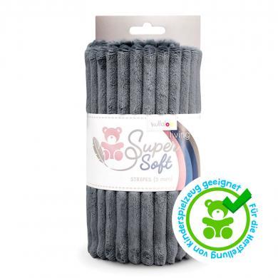 Kullaloo Plüschstoff Stripes 5mm dunkelgrau