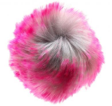 Faux Fur Pom Poms Siam Pink 10X10Cm