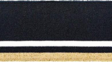 Bündchen 60mm Lurex navy weiß