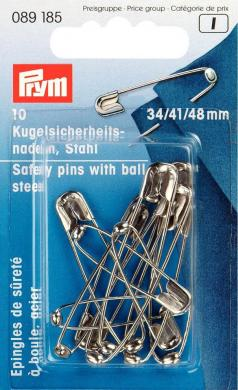 Wholesale Ball safety pins st 34+41+48 si-col 10pc