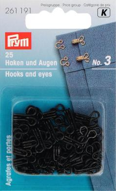 Wholesale Hooks & Eyes mild steel 3 black     25pc