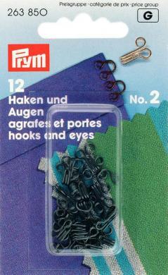 Wholesale Hooks & Eyes brass 2 black          12pc