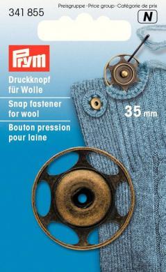 Annäh-Druckknöpfe für Wolle 35mm altmessing