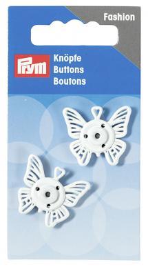 Großhandel Annäh-Druckknöpfe Schmetterling 25 mm weiß