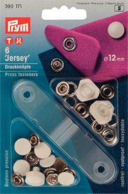Großhandel NF-Druckknopf Jersey glatte Kappe MS 12 mm weiß
