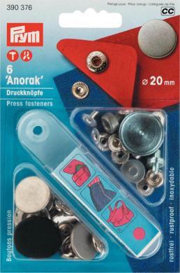 Großhandel NF-Druckknopf Anorak flach MS 20 mm alteisen