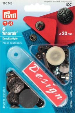 Großhandel NF-Druckknopf Anorak Fusion MS 20 mm altsilber
