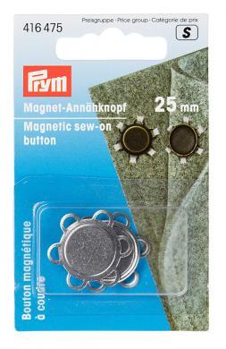 Magnet-Annähknopf 25 mm silberfarbig