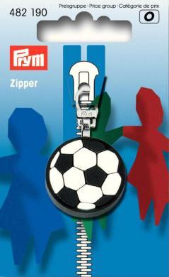 Fashion-Zipper für Kinder Fussball schwarz/weiß