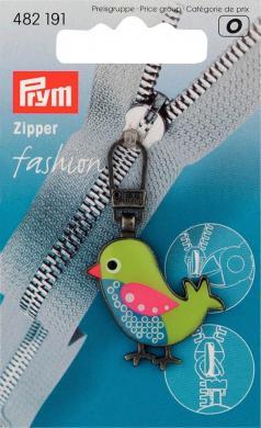 Fashion-Zipper f.Kinder Vogel grün/blau