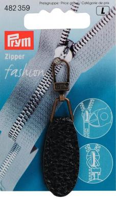 Fashion-Zipper Lederimitat oval schwarz