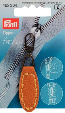 Fashion-Zipper Lederimitat oval senf