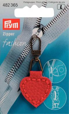 Fashion-Zipper Lederimitat Herzform rot