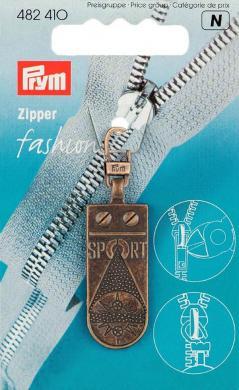 Großhandel Fashion-Zipper Sportstar altmessing