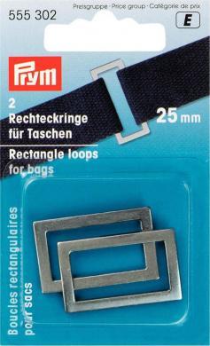 Großhandel Rechteckringe für Taschen 25 mm altsilber