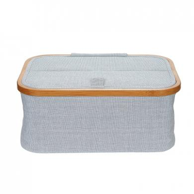 sewing basket Canvas & Bamboo foldable blue