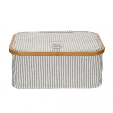 Wholesale Sewing basket canvas & Bamboo foldable grey