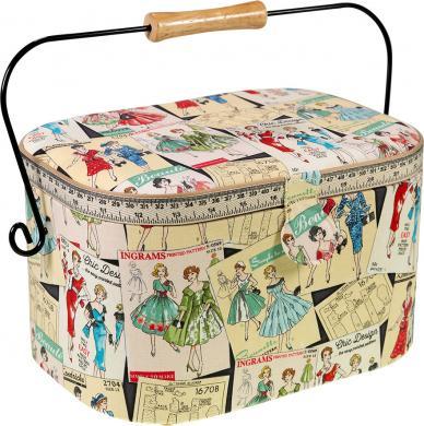 Sewing Basket Cotton Vintage Pattern