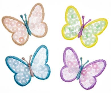 Großhandel Applikation Sort. 4x2 Schmetterlinge Pailletten