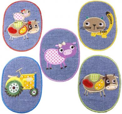 Patches Sort. 5x1 Farmtiere Jeans