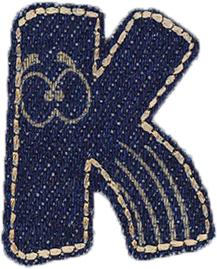 Großhandel Applikation Jeans Buchstabe K