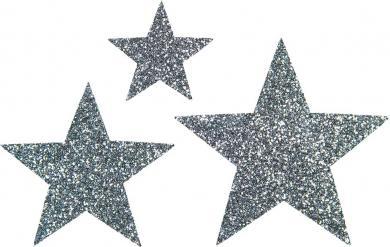 Großhandel Applikation Sort. 3x2 Sterne silber glitter