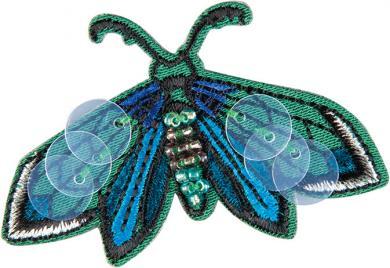 Applikation Schmetterling grün mit Perlen und Pailletten