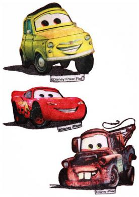 Großhandel Applikation Sort. 3x2 Disney Cars