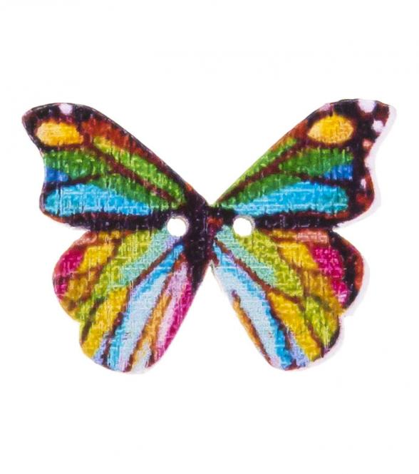 Wholesale button 2-hole wood butterfly