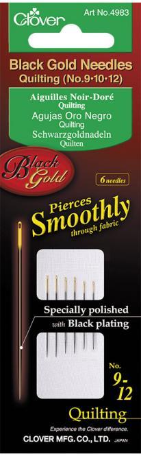 Wholesale Quilt Needle Mid-Lenght No.9/10/12 Black Gold Pin 6Pcs.