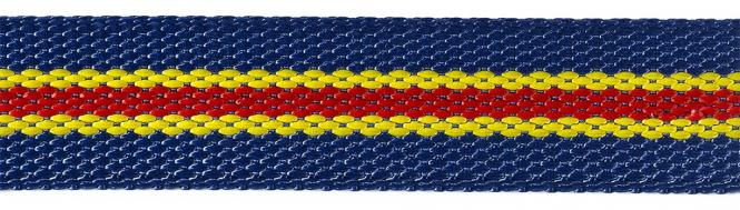 Großhandel Gurtband 30mm royalblau/gelb/rot