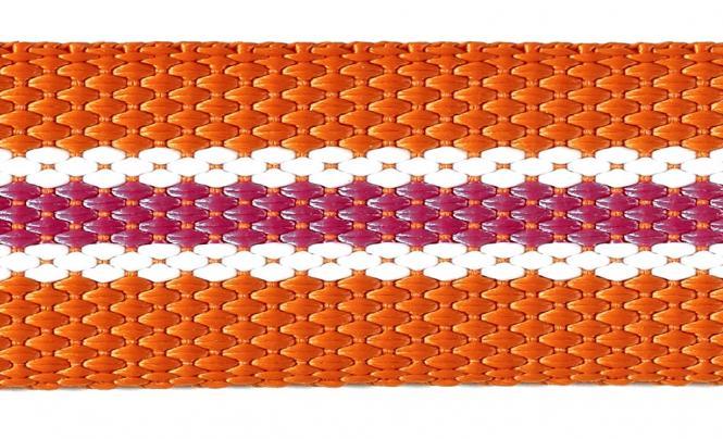 Großhandel Gurtband 30mm orange/weiß/pink gestreift