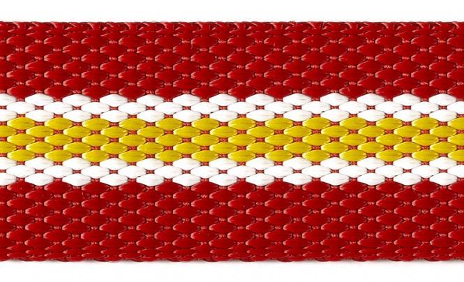 Großhandel Gurtband 30mm rot/weiß/gelb gestreift