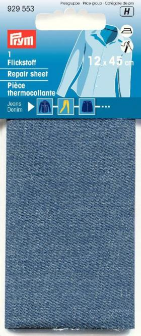 Großhandel Flickstoff Jeans 12x45cm aufbügelbar mittelblau