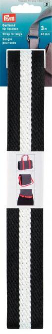 Großhandel Gurtband für Taschen 40 mm schwarz / weiß