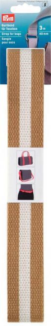 Großhandel Gurtband für Taschen 40 mm beige / weiß