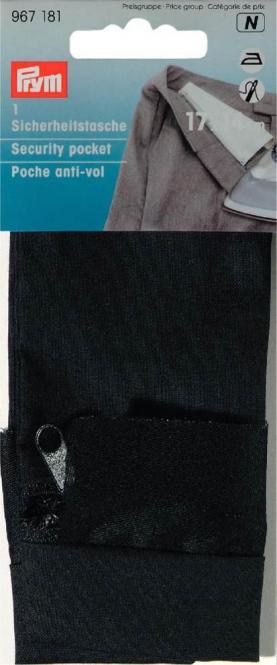 Großhandel Sicherheitstasche mit Reißverschluß 14 x 20 cm schwarz