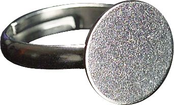 Wholesale Ring with plate 12 mm silver-coloured 2 pcs.